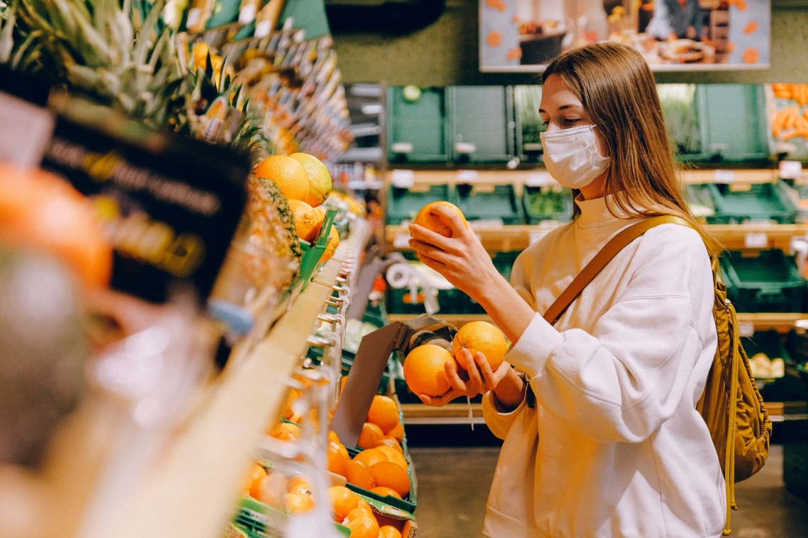 Shopping with mask on