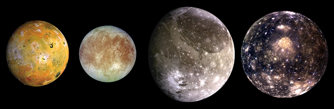 4 of Jupiter's moons are shown against a black background