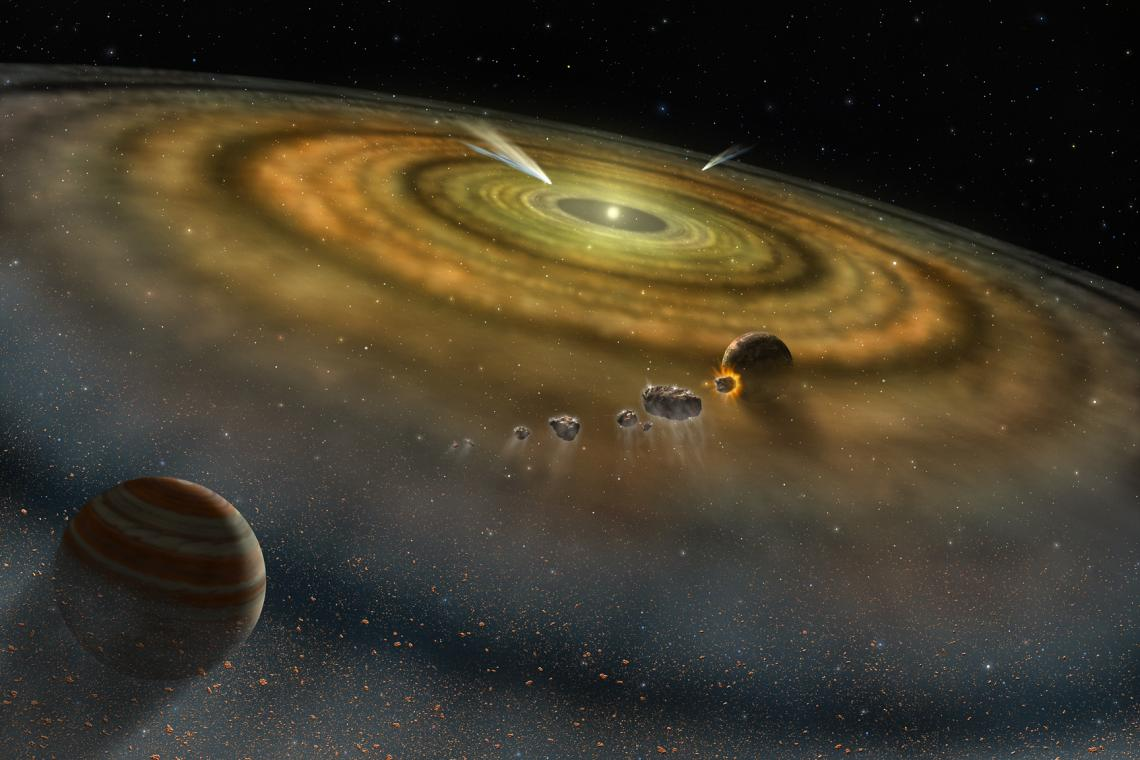 Artist's conception of the view toward the young star Beta Pictoris from the outer edge of its disk. This disk of dust and gas orbiting the star is produced by collisions between and evaporation of asteroids and comets.
