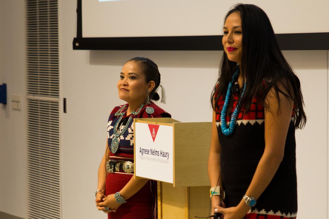 Karletta Chief  and Janene Yazzie make their team's presentation for the Haury challenge grant.