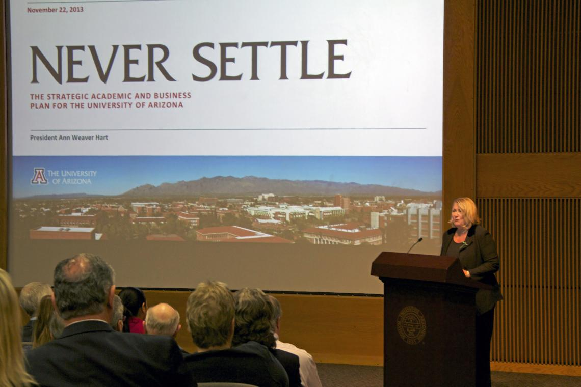"""In presenting the University's strategic academic and business plan, UA President Ann Weaver Hart said Never Settle """"violated all the principles of academic planning time,"""" being developed within one year and with input from about 4,000 people, who p"""