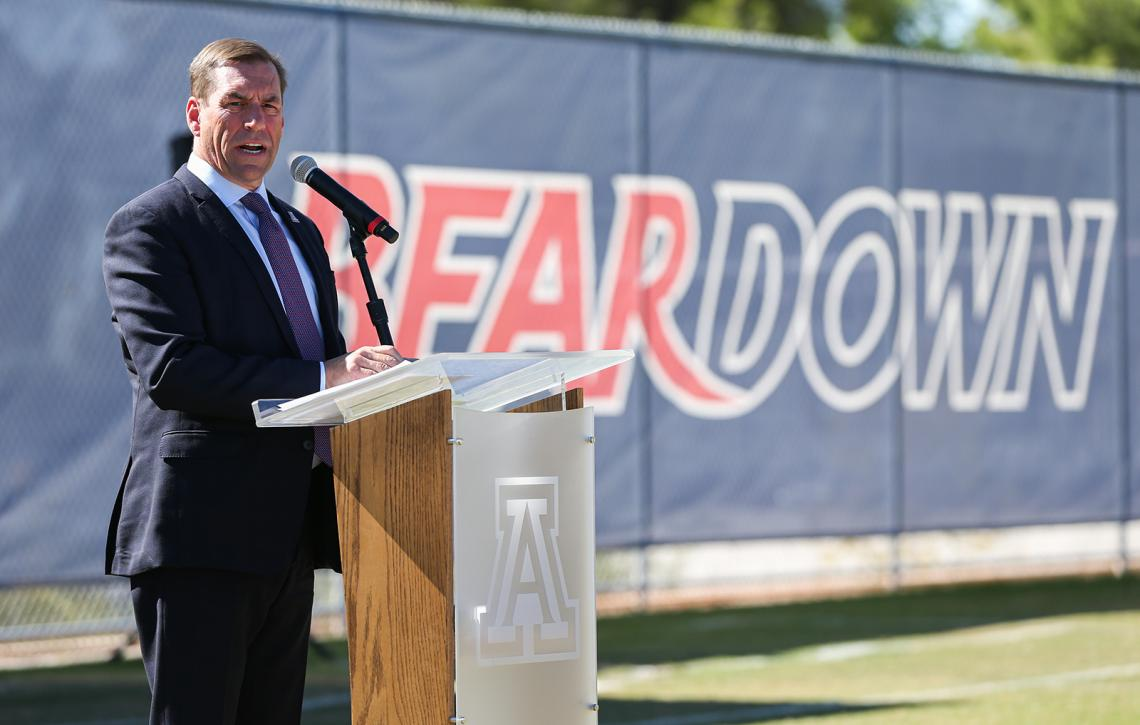 University of Arizona Vice President and Director of Athletics Dave Heeke speaks at the dedication of the Dick Tomey Football Practice Fields.