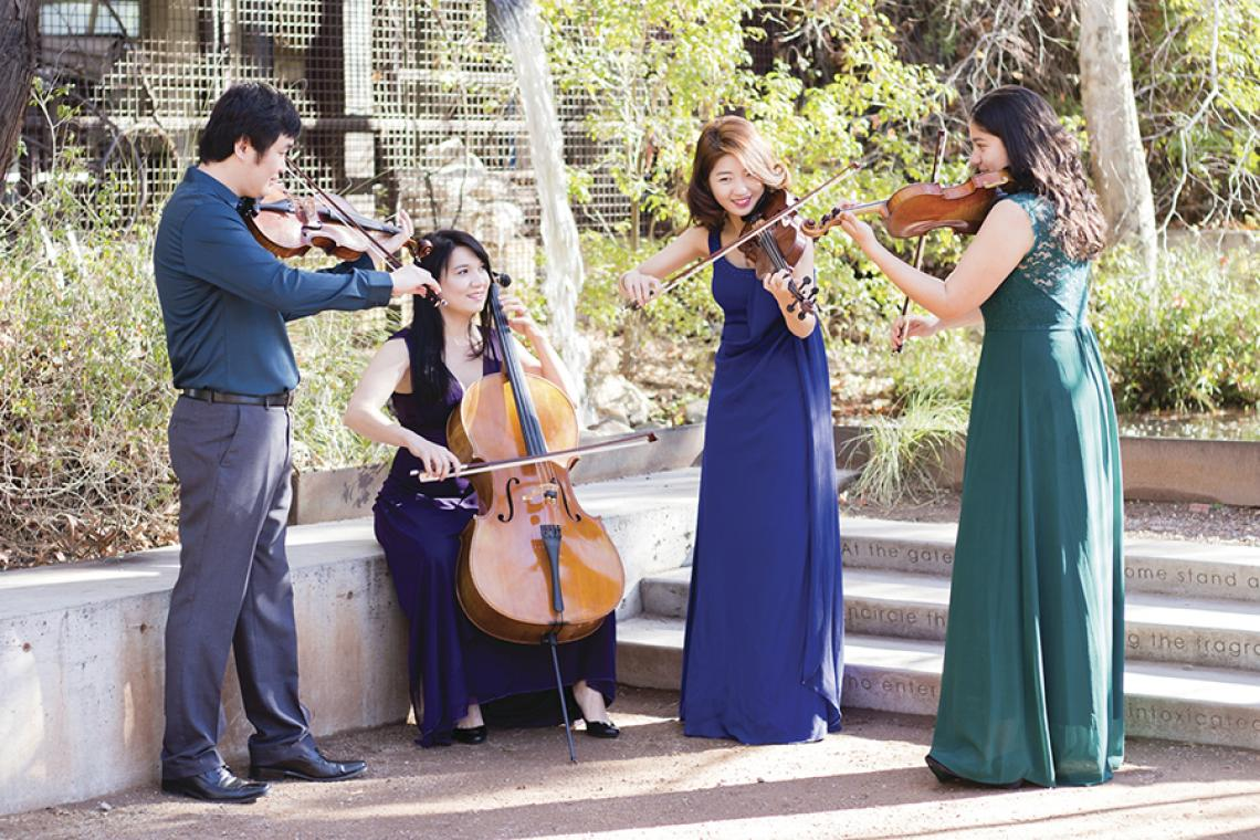 The University of Arizona 2018 Graduate String Quartet:  Tiezheng Shen, Diana Chiknaikin, Stella Kim and Laura Cásarez.