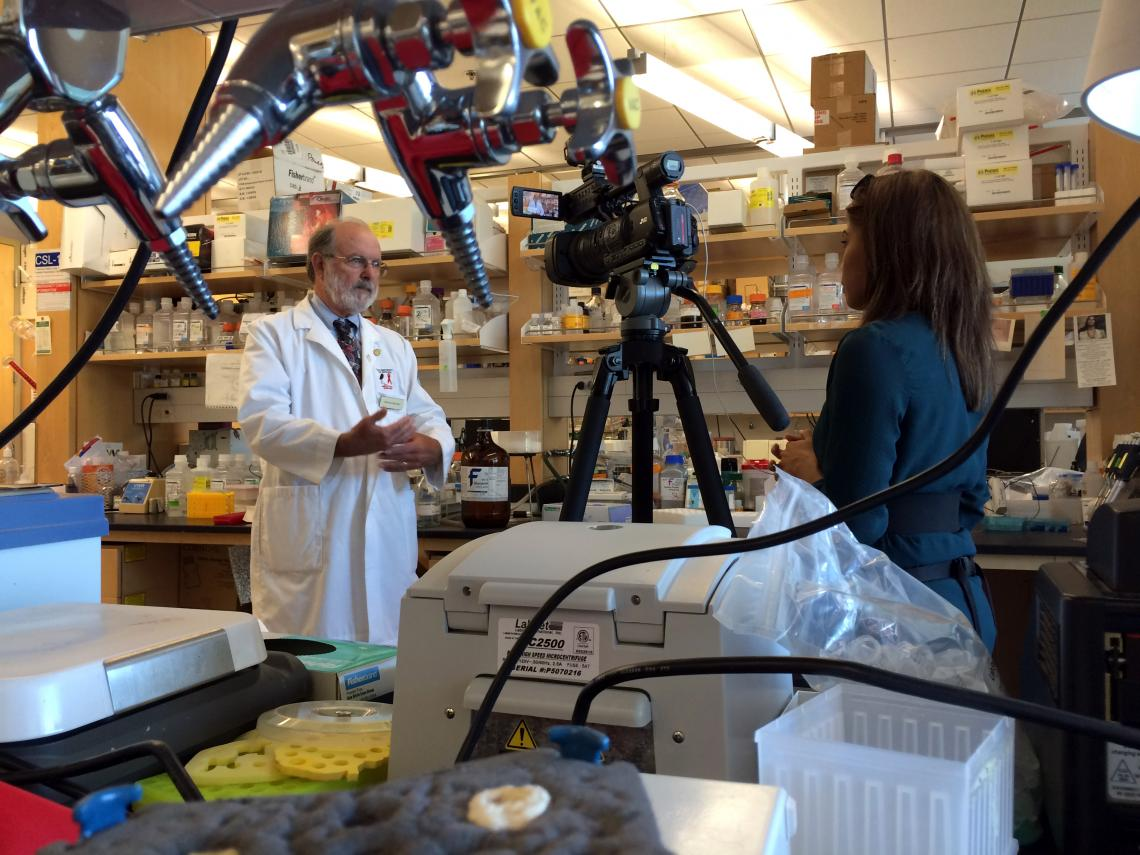 Dr. John Galgiani is interviewed about his research in his lab at the UA's BIO5 Institute.