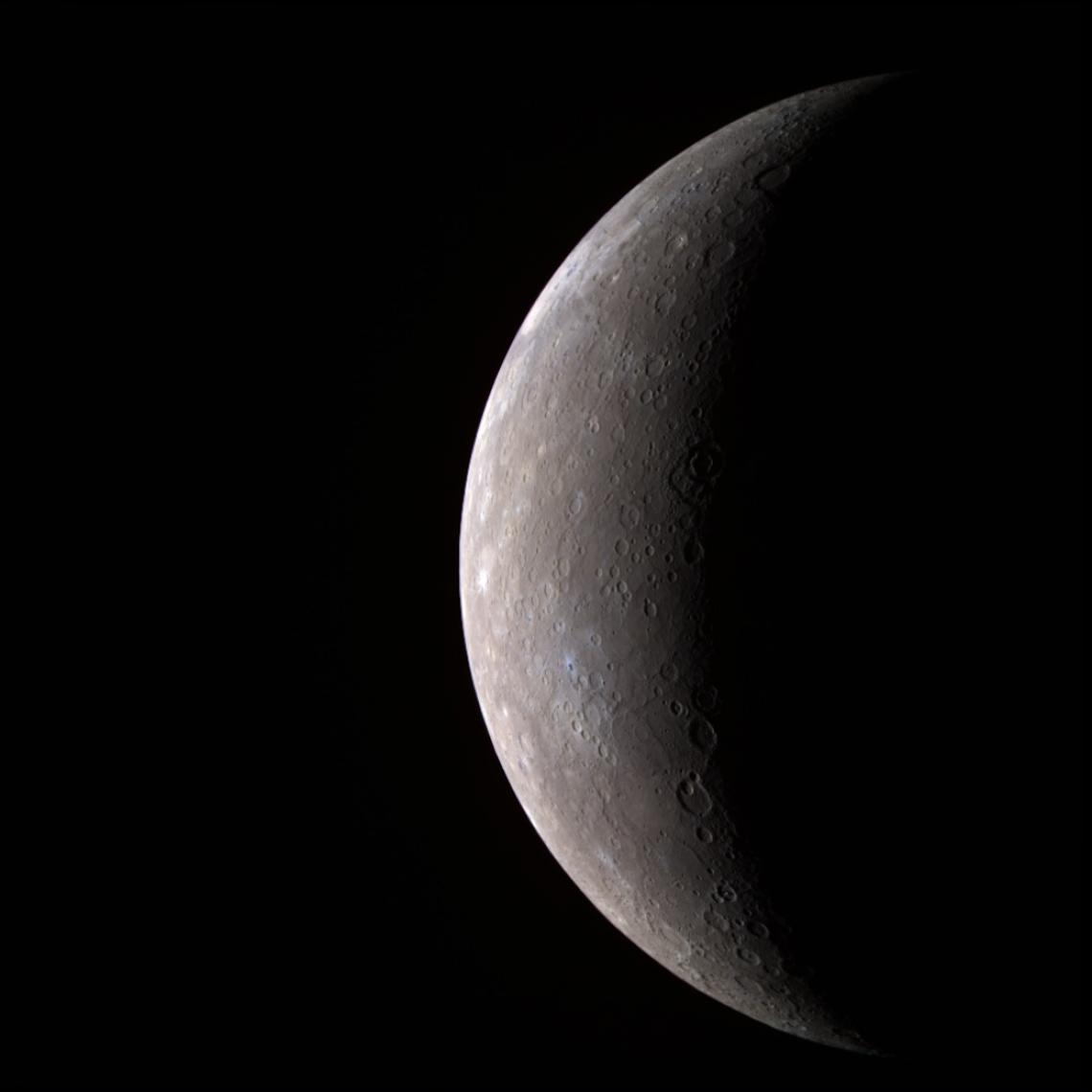 This image of Mercury was created using infrared, red and violet filters that capture wavelengths both visible and invisible to the human eye; the colors shown here are only slightly different from what the human eye would see.
