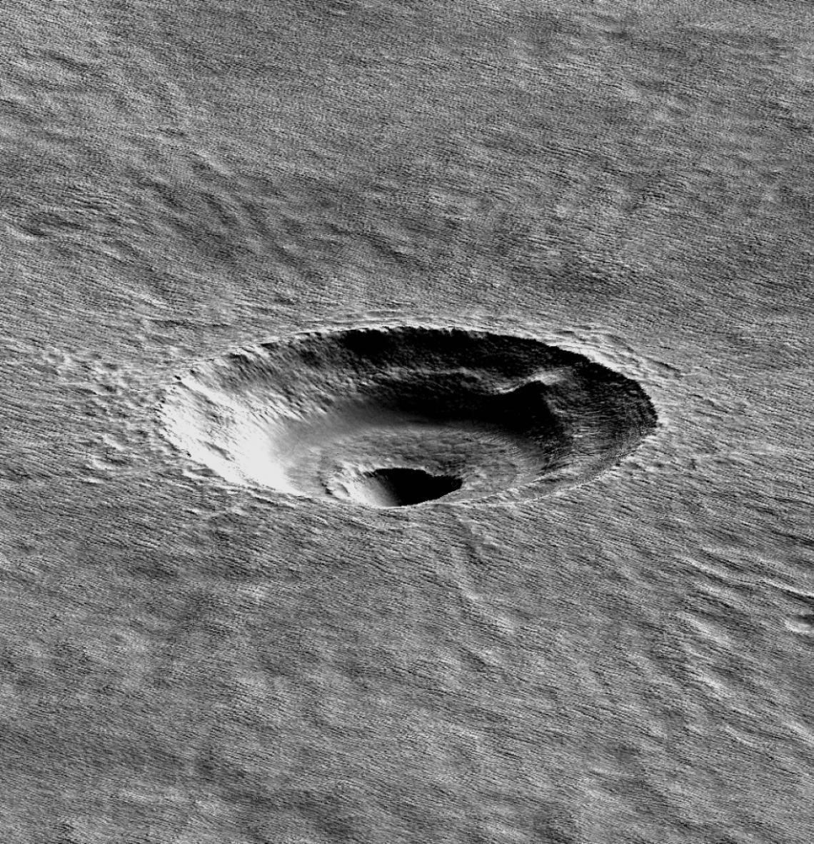 A digital terrain model of the crater that the UA's Ali Bramson investigated.