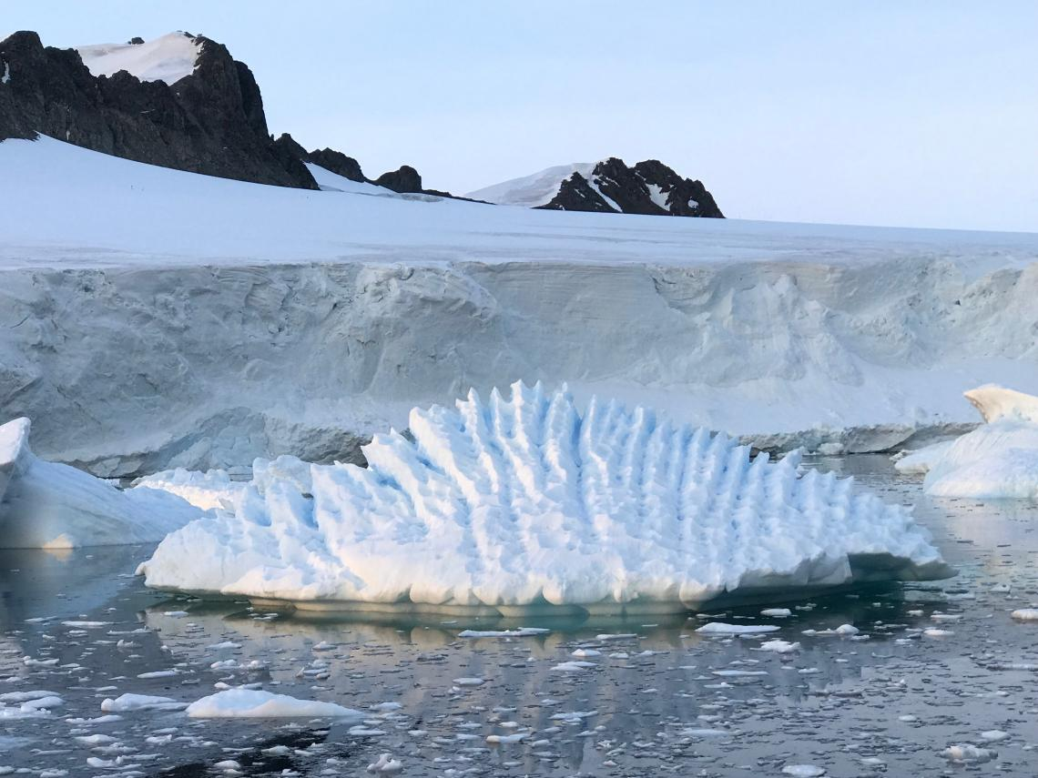 An unusual iceberg at Rothera Research Station, Antarctic Peninsula