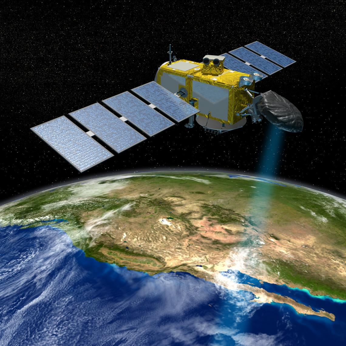 The Jason series of U.S./European satellites can measure the height of the ocean surface.