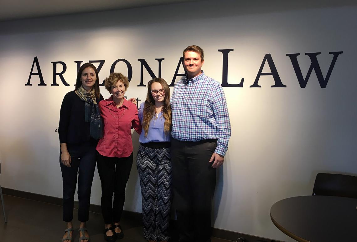 Negar Katirai, Barbara Atwood, Natalie Cafasso and Chris Lloyd were among the UA faculty and students who visited the Arizona Supreme Court in June to hear oral arguments in a family law case.