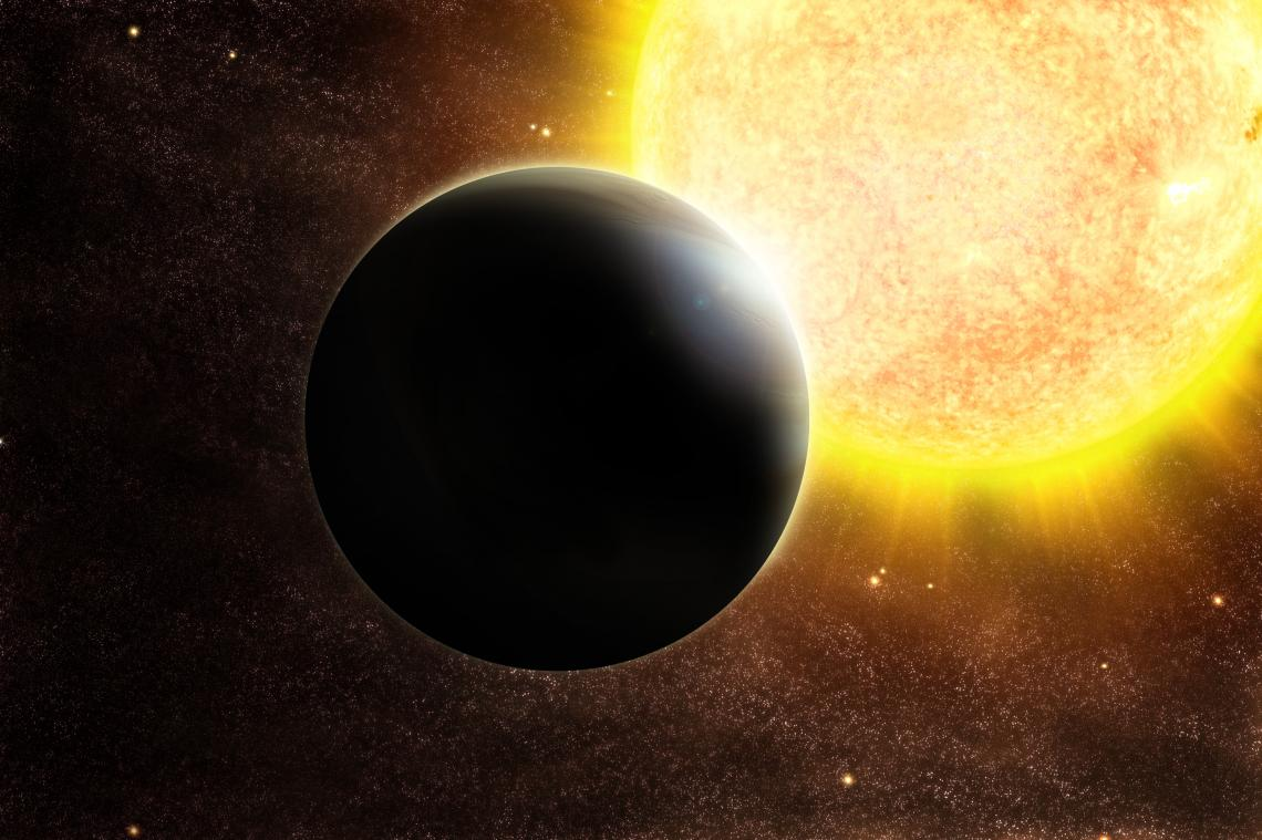 Artist's impression of a Jupiter-size exoplanet and its host, a star slightly more massive than the sun.