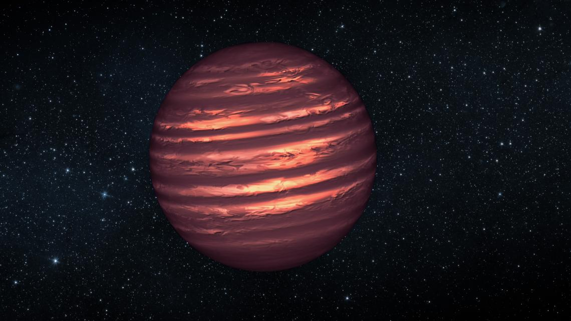 An artist's conception of the brown dwarf 2MASS-2228, one of the targets monitored in the Extrasolar Storms campaign. More massive than planets, but short of enough mass to shine like a star, brown dwarfs are home to swirling clouds that can form cloud pa