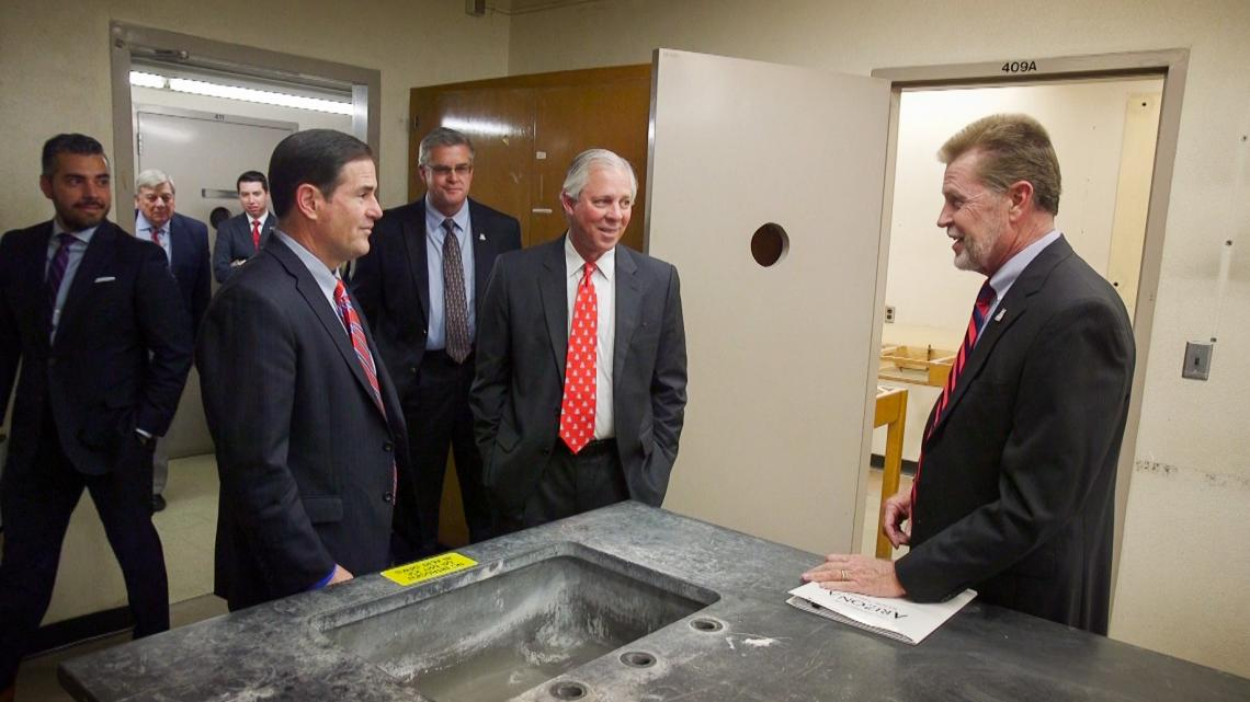 Gov. Doug Ducey  and UA President Robert C. Robbins  tour Building 90 with Bob Smith , vice president of University Planning, Design and Operations.