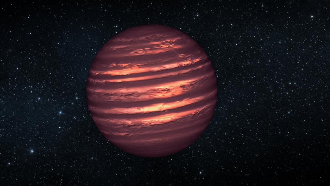 This artist's conception illustrates the brown dwarf named 2MASSJ22282889-431026. NASA's Hubble and Spitzer space telescopes observed the object to learn more about its turbulent atmosphere. Brown dwarfs are more massive and hotter than planets but lack t