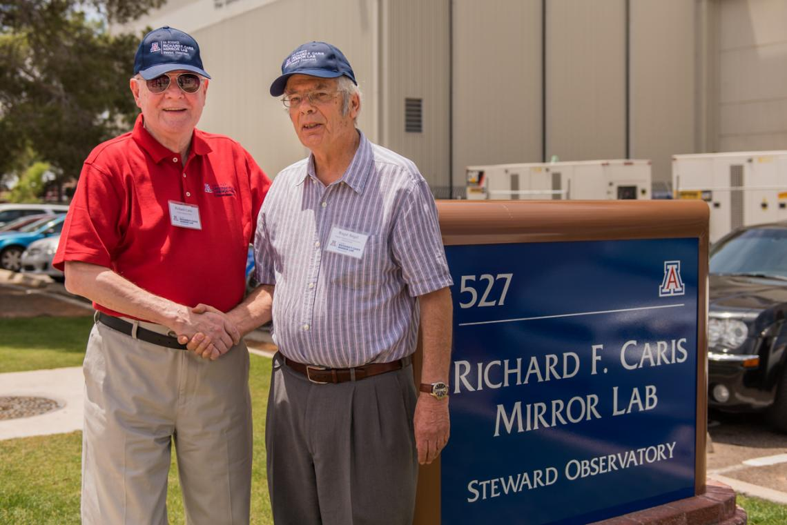 UA astronomy benefactor Richard F. Caris  with Regents' Professor Roger Angel, director of the Richard F. Caris Mirror Lab