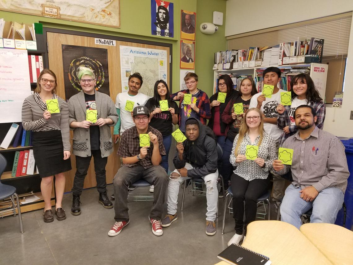 UA students Sarah Heath Howe  and Sarah Johnson  meet weekly with Changemaker High School students to help them prepare for their summer trip to Japan. It will be the first time on an airplane for some of the students, like Ricardo Goodman .