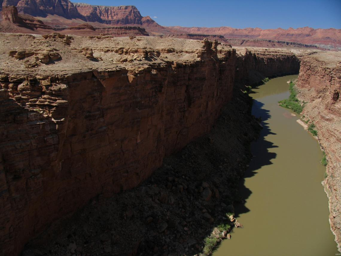 A late-afternoon view of the Colorado River in Marble Canyon looking upstream from the Navajo Bridge, near Lees Ferry, Arizona