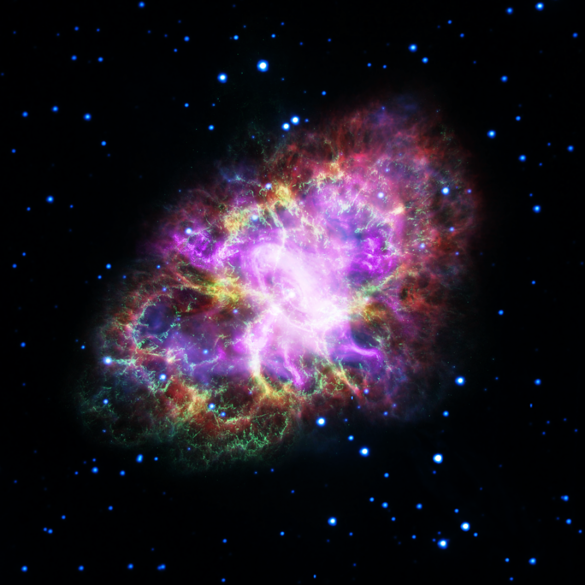 This composite image of the Crab Nebula was assembled with arbitrary color scaling by combining data from five telescopes spanning nearly the entire electromagnetic spectrum.