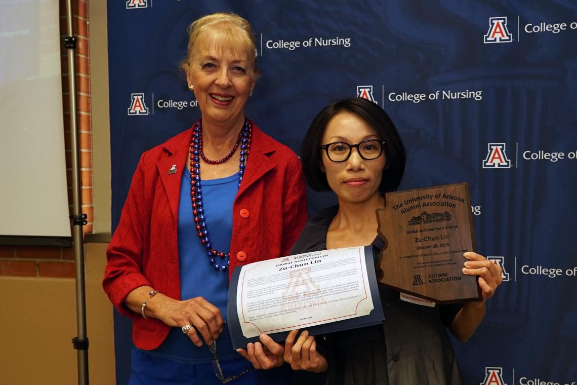 Zu-Chun Lin  with Joan Shaver, dean of the UA College of Nursing, at the Wildcat Nurse Alumni Awards Breakfast on Saturday. Lin received the UA's Global Achievement Award.