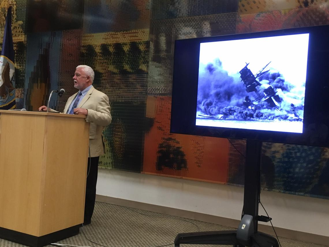 """James Delgado, in his talk at UA Libraries' Special Collections, said the USS Arizona """"Is the story of us, really. It's the story of people rendered exceptional by extraordinary circumstances."""""""