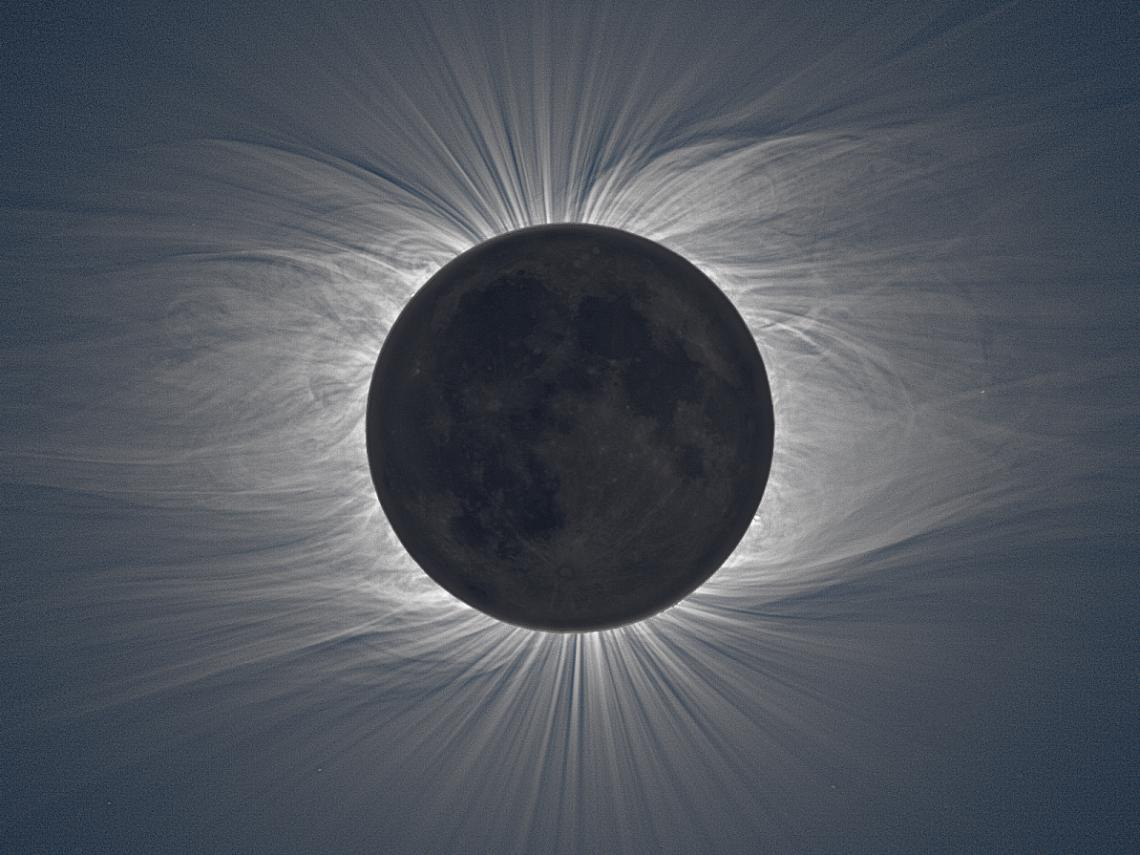 During the 2009 total eclipse, the sun's corona became visible to observers on the ground, its swirls and streaks caused by our star's magnetic field interacting with the solar wind.