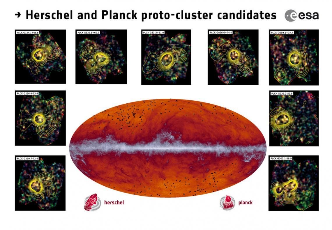 The Planck all-sky map at submillimeter wavelengths . The band running through the middle corresponds to dust in our Milky Way galaxy. The black dots indicate the location of the proto-cluster candidates identified by Planck and subsequently observed by H