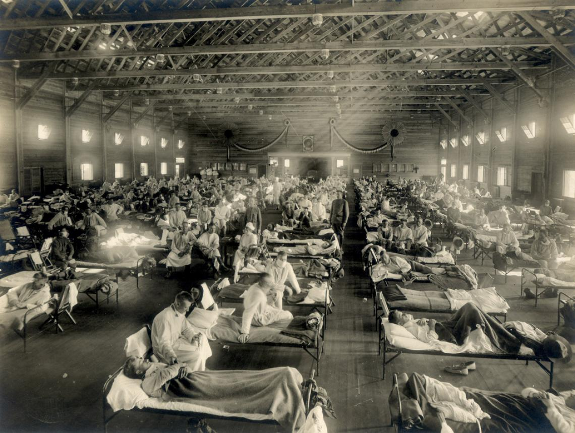 An emergency hospital in Camp Funston, Kansas, during the 1918 influenza epidemic.
