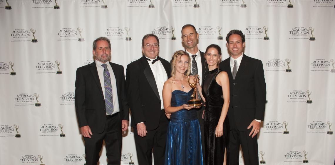 From left: Dave Bogner, John Booth, Jatta Sheehy, Cody Sheehy, Ahniwake Dysinger and Matt Rahr, with the award for Best Topical Documentary at the Rocky Mountain Emmys