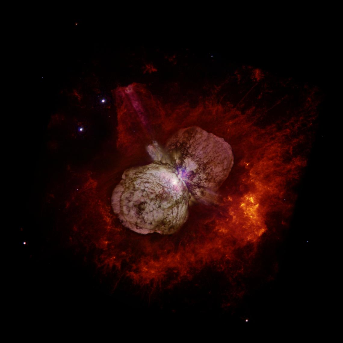 Huge, billowing gas and dust clouds are captured in this stunning NASA Hubble Space Telescope image of the supermassive star Eta Carinae.