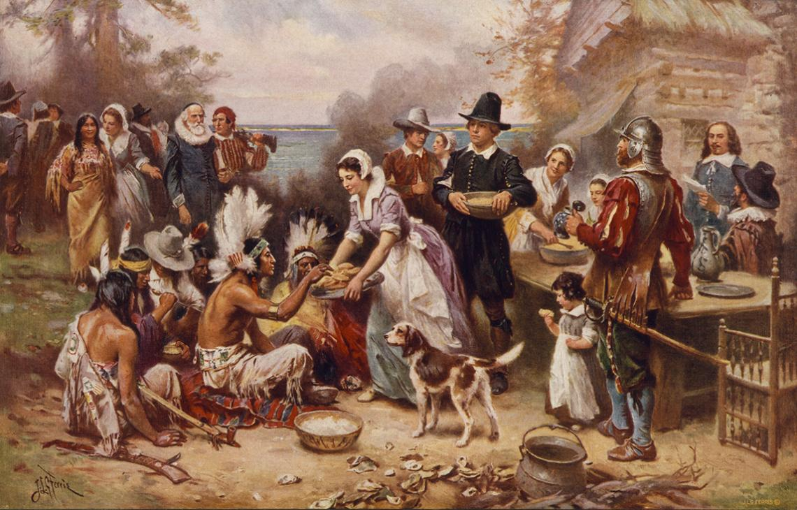Illustrations of the first Thanksgiving often are historically inaccurate, such as this 1932 painting by Jean Leon Gerome Ferris. The outfits the Pilgrims are shown wearing are wrong, and the Wampanoag did not wear feathered war bonnets, nor would they ha