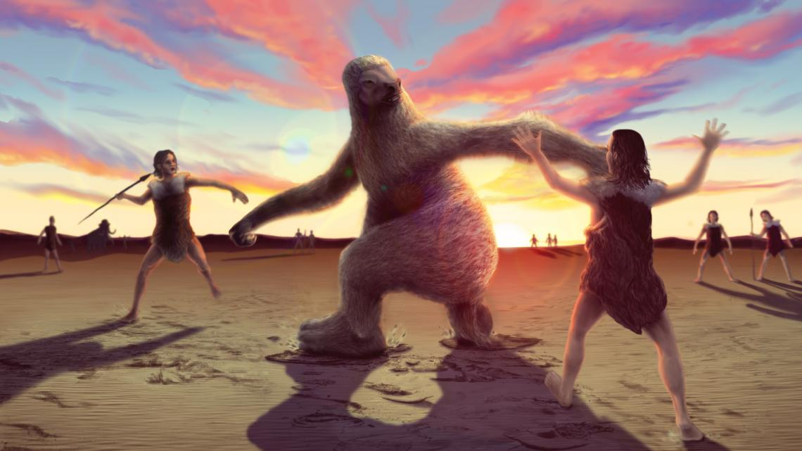Artist's rendering of a giant ground sloth being hunted by humans. Recently discovered footprints provide the first evidence that this scenario may have occurred in North America during the late Ice Age.