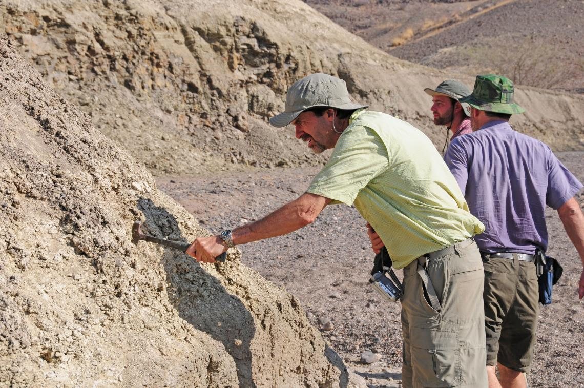 Professor Andrew S. Cohen  and ASU co-principal investigators Chris Campisano  and Ramon Arrowsmith  examine outcrops near the Northern Awash River drill site in Ethiopia.