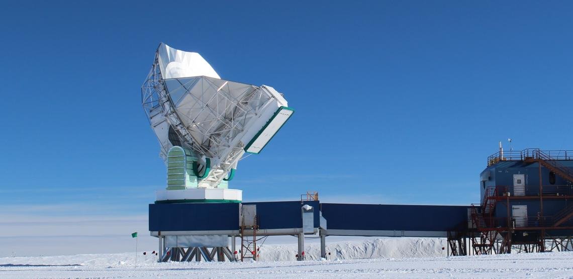 The 10-meter South Pole Telescope, at the National Science Foundation's Amundsen-Scott South Pole Station, joined the global Event Horizon Telescope array in January.