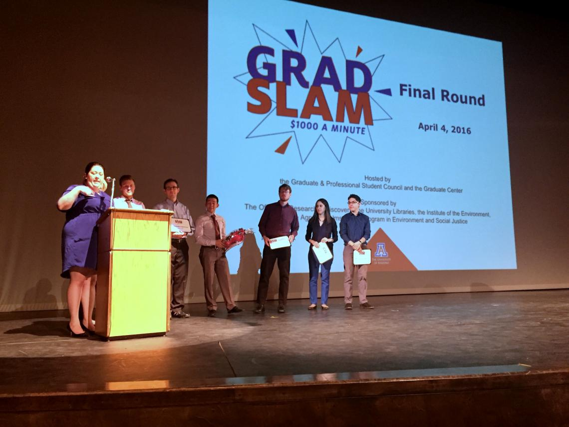 Grad Slam finalists presented their projects during an event held at the Stevie Eller Dance Theatre.