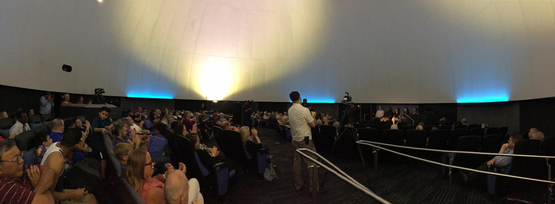 A capacity crowd is on hand at the Flandrau Science Center & Planetarium for the taping of programming for Asteroid Day, which is Friday.