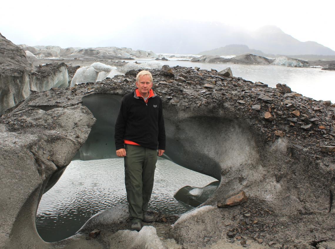 The UA's Jeffrey S. Kargel, coordinator of the GLIMS project, at Sheridan Glacier near Cordova, Alaska.
