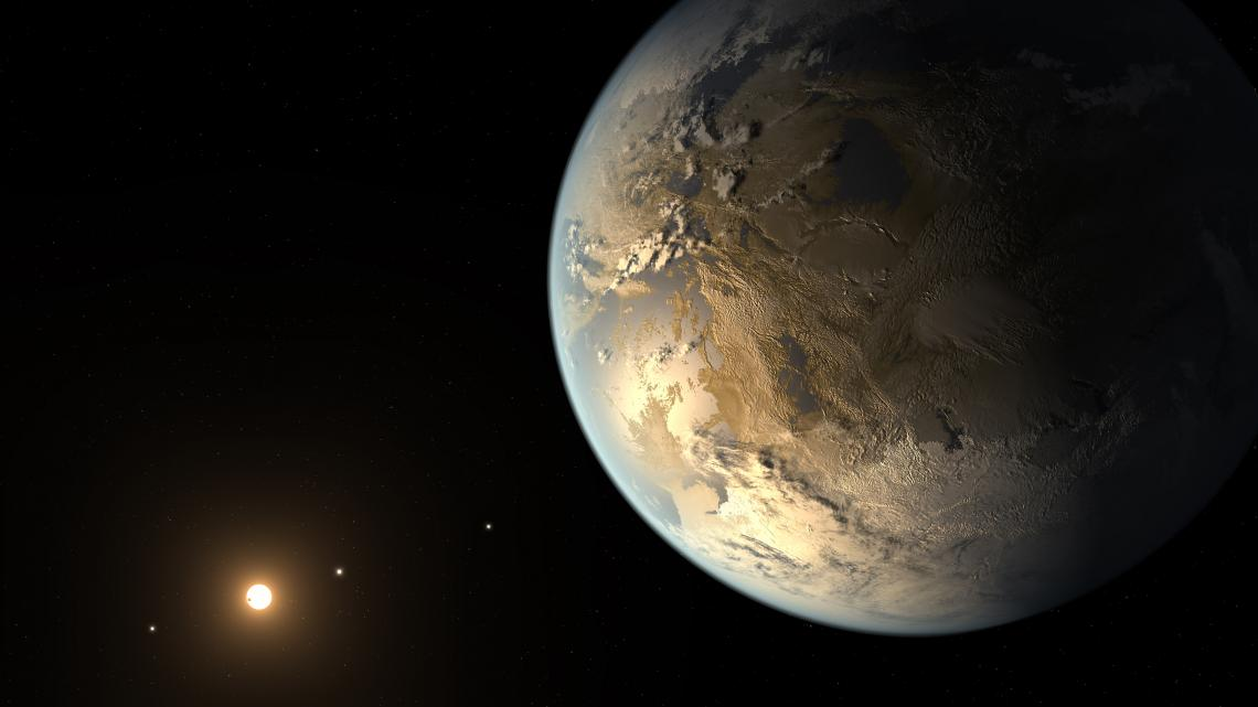 An artist's concept of a rocky, Earth-size exoplanet in the habitable zone of its host star.