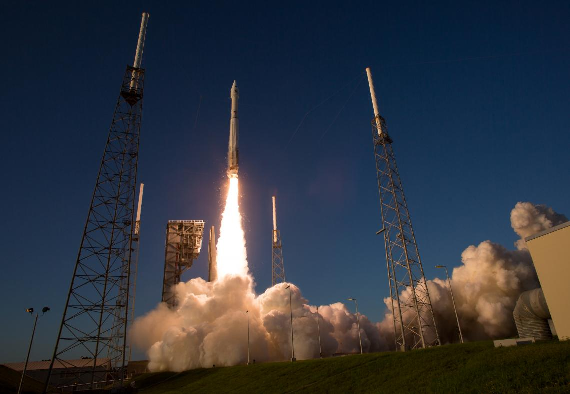 The Atlas V rocket carrying the OSIRIS-REx spacecraft lifts off from Space Launch Complex 41 in Cape Canaveral, Florida.