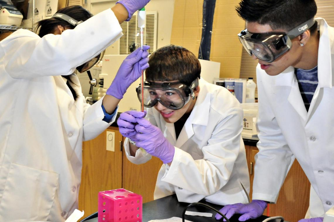 Biotechnology students at Pueblo High School in Tucson work with E. coli bacteria in the lab.