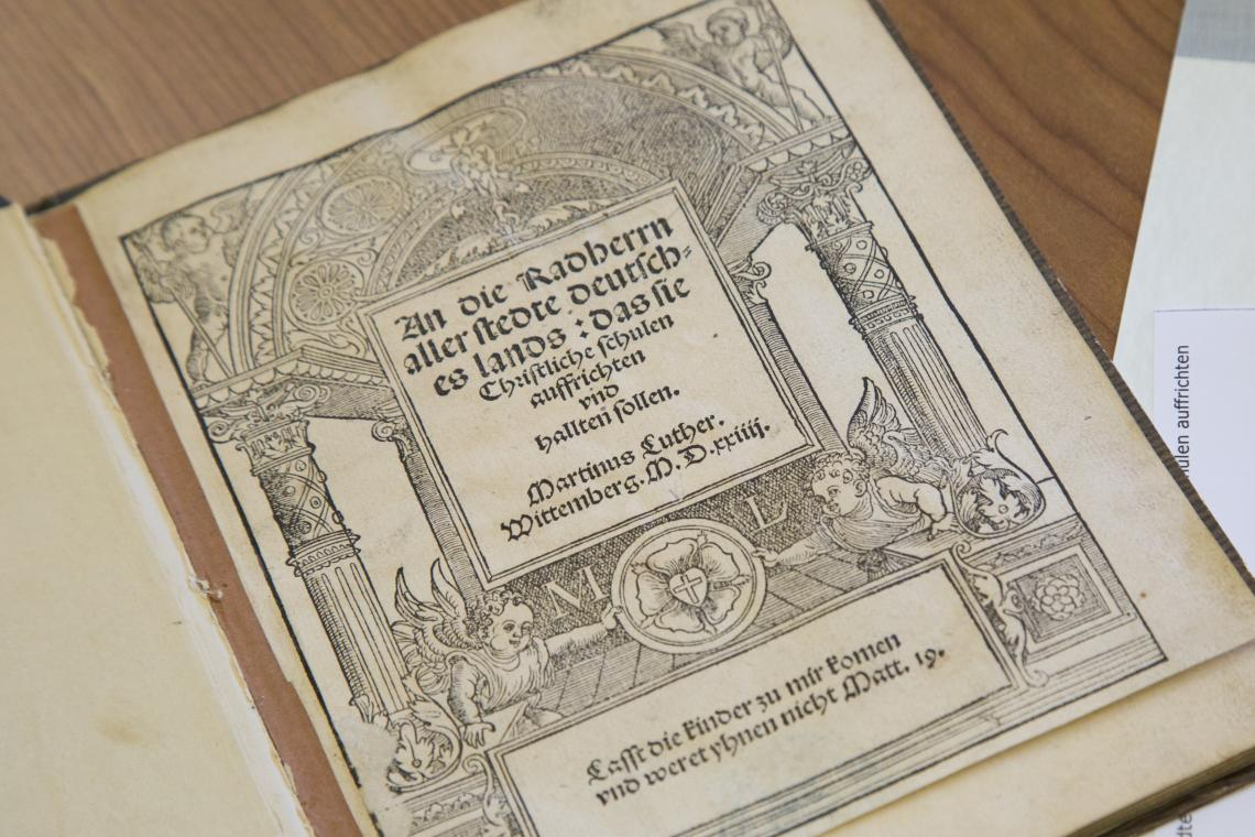 "A close-up of Martin Luther's 1524 pamphlet, ""An die Radherrn aller stedte deutsches lands : das sie Christliche schulen auffrichten vnd hallten sollen"" , housed in Special Collections."
