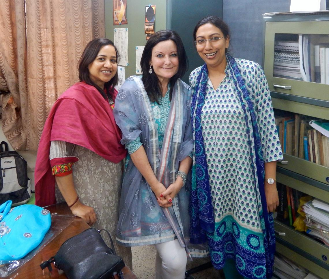 UA professor Melissa A. Fitch  with Priti Singh  and Aprajita Kashyap, professors at the Centre for Canadian, U.S. and Latin American Studies at the School of International Studies at Jawaharlal Nehru University in Delhi, India.