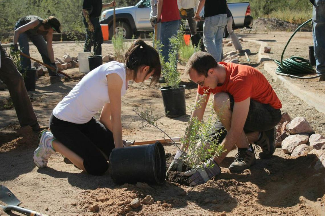 Tucson residents put their hands together to help with community enhancement projects funded by grants from Conserve2Enhance in 2013. C2E is funding 3 sustainability projects in Tucson in 2014.