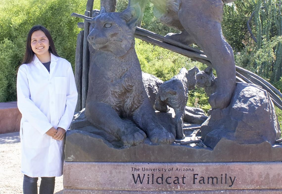 Freshman Nizhonabah Davis of Ganado, Arizona, participated in the UA's Native American Science and Engineering Program, an endeavor that connects Native American students with academic professionals and industry representatives in STEM fields.