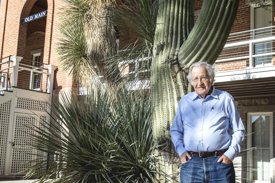 Noam Chomsky outside of Old Main at the UA.