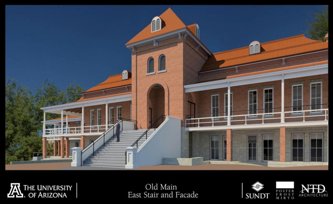 A $13.5 million fundraising campaign is underway to renovate and restore Old Main. The team at the Tucson-based Poster Frost Mirto, Inc. is at the fore of designing the new look and feel of Old Main while retaining its historic features.