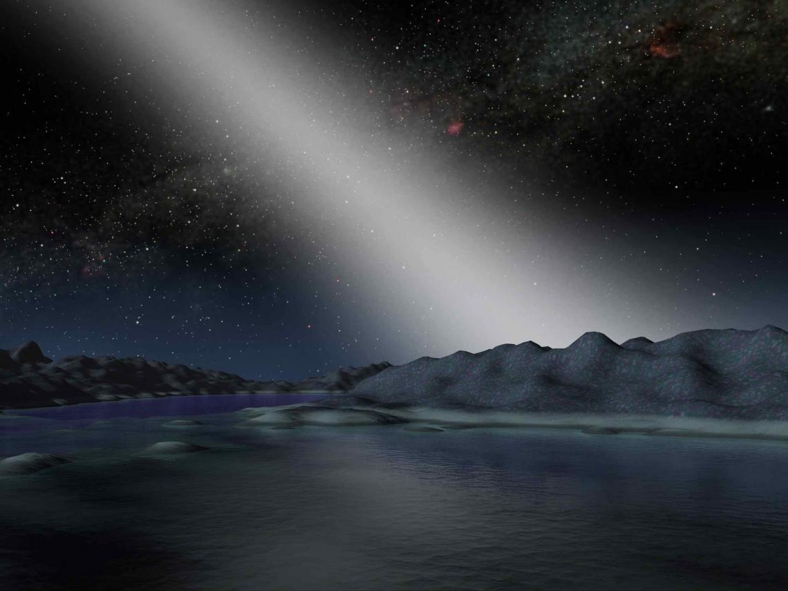An artist's impression of exo-zodiacal light viewed on an alien world