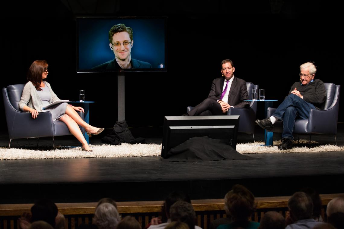 """A Conversation on Privacy"" at the UA's Centennial Hall featured  moderator Nuala O'Connor, Edward Snowden , Glenn Greenwald and Noam Chomsky."
