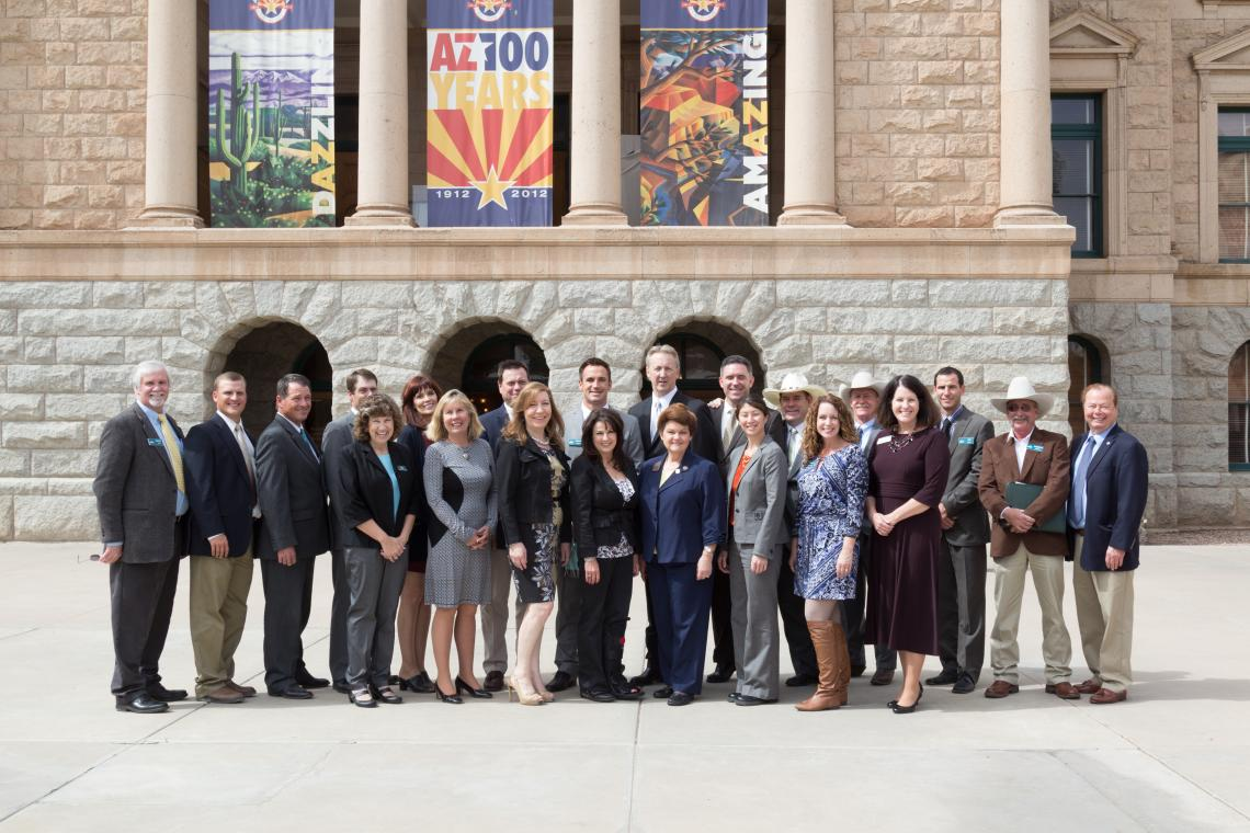 Members of Project CENTRL Class 22, including Drew John , Sine Kerr  and Jim Parks , met with CENTRL alumni serving in the Arizona Legislature in 2014, including Frank Pratt  and Gail Griffin .