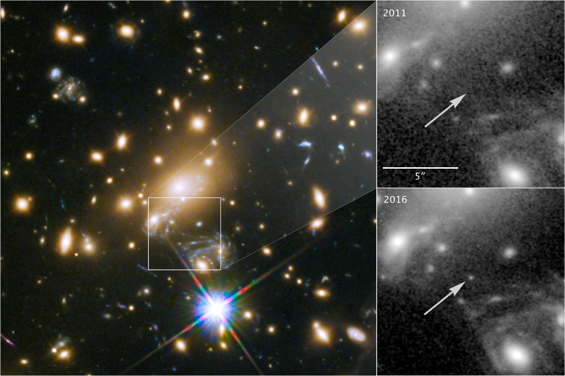 Icarus is visible only because it is magnified by the gravity of a massive galaxy cluster, located about 5 billion light-years from Earth . The panels at the right show the view in 2011, without Icarus visible, compared with the star's brightening in 2016