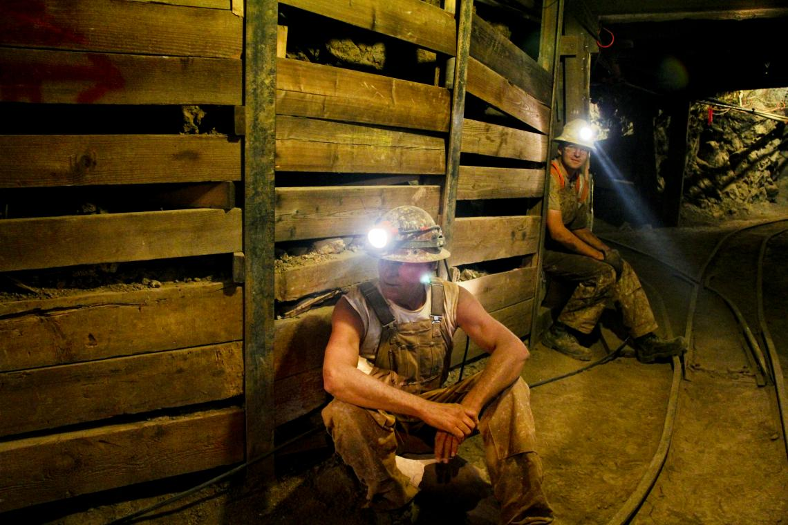 Mine workers wait for blasting to finish in the student-run San Xavier Mine near Tucson.