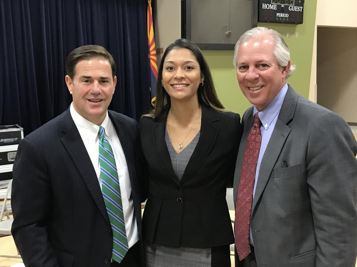Arizona Gov. Doug Ducey , UA student Charisse White and UA President Robert C. Robbins were on hand for the formal announcement of the Arizona Teachers Academy.